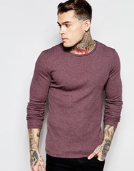 Asos Rib Jersey Extreme Muscle Long Sleeve T Shirt In Oxblood