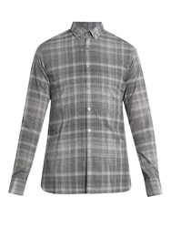Lanvin Checked Buttoned Collar Single Cuff Shirt Black Multi