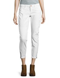 Noisy May Zip Accented Cropped Jeans White