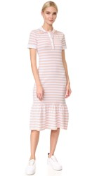 Natasha Zinko Short Sleeve Striped Dress Peach White