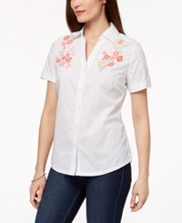 Karen Scott Cotton Embroidered Shirt Created For Macy's Bright White Combo