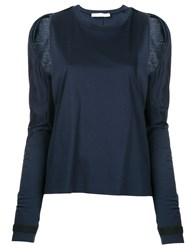 Dion Lee Cutout Shoulder T Shirt Women Cotton 12 Blue