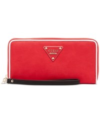 Guess Clare Large Zip Around Wallet Red Multi
