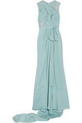 Elie Saab Lace Paneled Pleated Silk Blend Georgette Gown Teal
