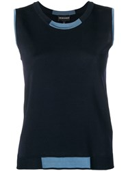 Emporio Armani Sleeveless Knitted Top Blue