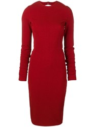 Rick Owens Fitted Midi Dress Red