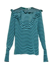 Fendi Ruffled Front Striped Silk Cady Blouse Blue Multi