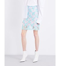 Marques Almeida Floral Embroidered Tulle Skirt Turquoise Pink