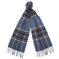 Barbour Slaley Check Lambswool Scarf Grey Ochre