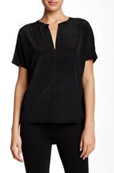 Zoa Short Sleeve Split Neck Blouse Black
