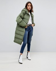 Free People Long Ragalan Quilted Coat Green