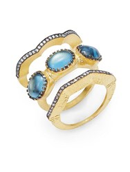 Azaara Classic 22K Yellow Gold Titan Ring Set Gold Blue