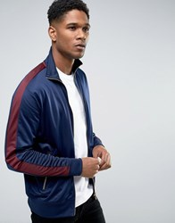 New Look Track Jacket In Navy With Burgundy Stripe Navy