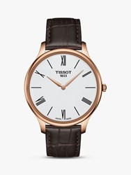 Tissot T0634093601800 'S Tradition Leather Strap Watch Dark Brown White