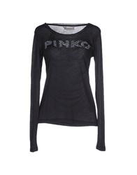 Pinko Grey Topwear T Shirts Women Steel Grey