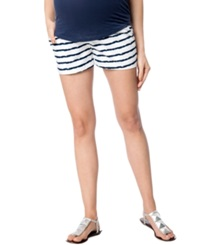 A Pea In The Pod Maternity Secret Fit Belly Printed Shorts Stripe