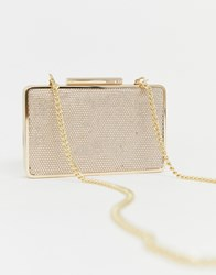 Miss Kg Structured Clutch Bag With Hardware Beige