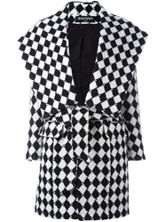 Balmain Checked Belted Coat White