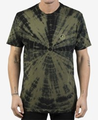 Neff Men's Smiley Tie Dyed Logo T Shirt Olive