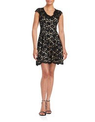 Vince Camuto Cap Sleeve V Neck Lace A Line Dress Black