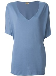 Fay Relaxed Fit Fold Pin Detail V Neck Top Blue
