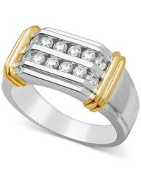 Macy's Men's Diamond Two Row Ring 3 4 Ct. T.W. In 10K White And Yellow Gold Two Tone