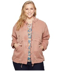 Lucky Brand Plus Size Hooded Jacket Blush Women's Coat Pink