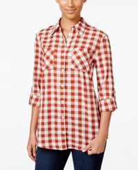 Styleandco. Style Co. Gingham Roll Tab Shirt Only At Macy's Gingham Orange