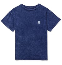The Elder Statesman Statesan Printed Washed Cotton Jersey T Shirt Indigo