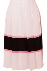 Marni Pleated Striped Crepe De Chine Skirt Pastel Pink