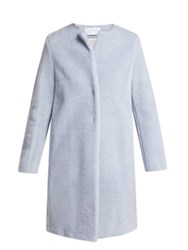 Harris Wharf London Single Breasted Wool Blend Coat Light Blue