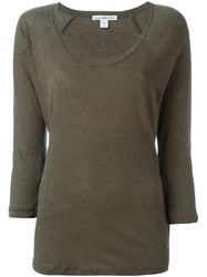 James Perse Three Quarters Sleeve T Shirt Green