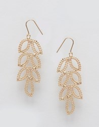Ny Lon Nylon Etched Leaf Drop Earrings Gold