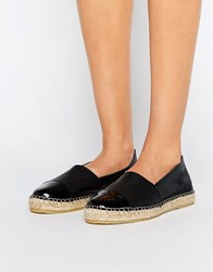 Pieces Josephine Leather Espadrilles Black