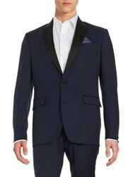 Tallia Orange Mason Collection Wool Tuxedo Jacket Dark Blue