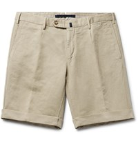 Incotex Slim Fit Linen And Cotton Blend Shorts Neutrals