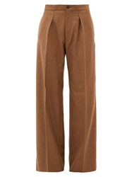 Connolly Pleated Wide Leg Felted Twill Trousers Camel