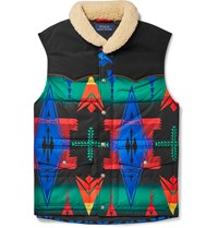 Polo Ralph Lauren Faux Shearling Trimmed Quilted Printed Shell Gilet Multi