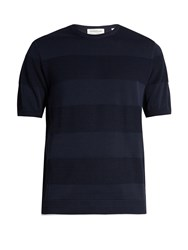 Tomorrowland Contrast Stripe Cotton T Shirt Navy