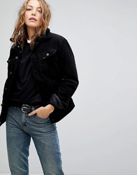 Lee Borg Collar Denim Jacket In Cord Black