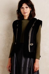 Anthropologie Embroidered Sherpa Vest Black