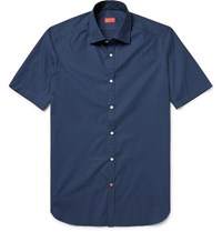 Isaia Slim Fit Pin Dot Cotton Poplin Shirt Storm Blue