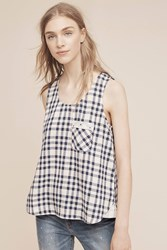 Anthropologie Brandywine Plaid Top Navy