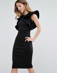 Club L Scuba Midi Dress With Extreme Ruffle Sleeve Black