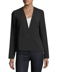 Laundry By Shelli Segal Mixed Media One Button Blazer Black