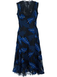 Yigal Azrouel Embroidered Ferns Lace Dress Black