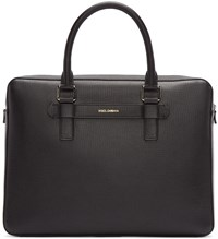 Dolce And Gabbana Black Grained Leather Briefcase