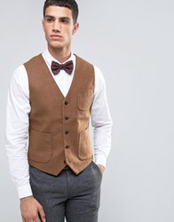 French Connection Flannel Slim Fit Waistcoat Tan