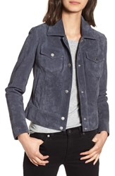 Andrew Marc New York Tumbled Suede Trucker Jacket Storm Blue