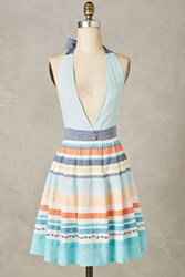 Anthropologie Burke Embroidered Apron Sky